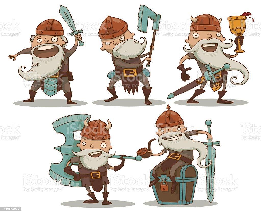 Set of Dwarfs vector art illustration