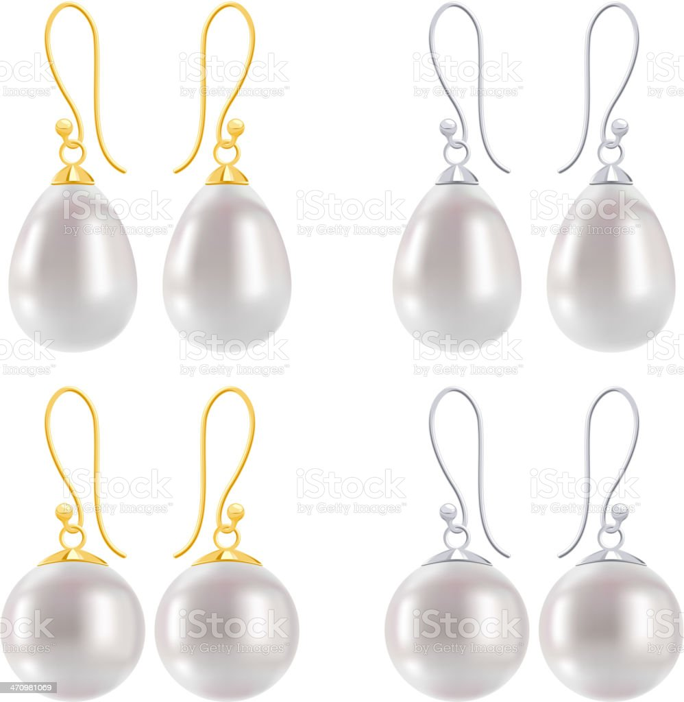Set of earrings with pearls - round and drop forms. royalty-free stock vector art