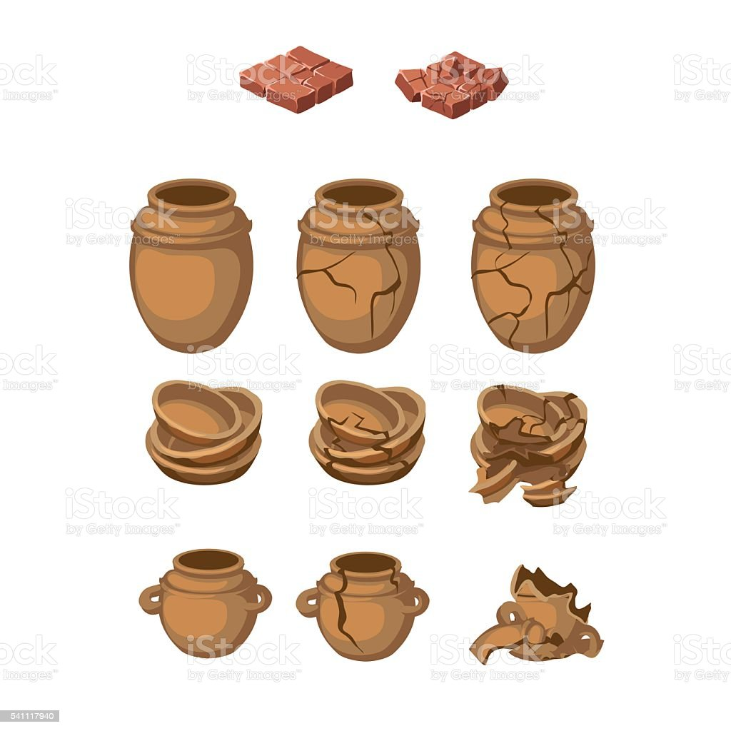 Set of earthenware jugs and plates, whole, broken vector art illustration