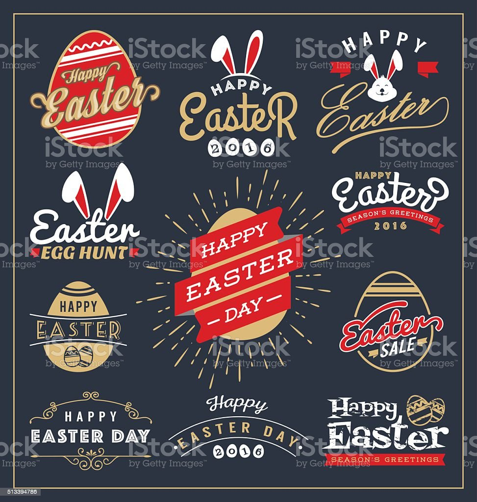 Set of Easter day typography badge and labels vector art illustration