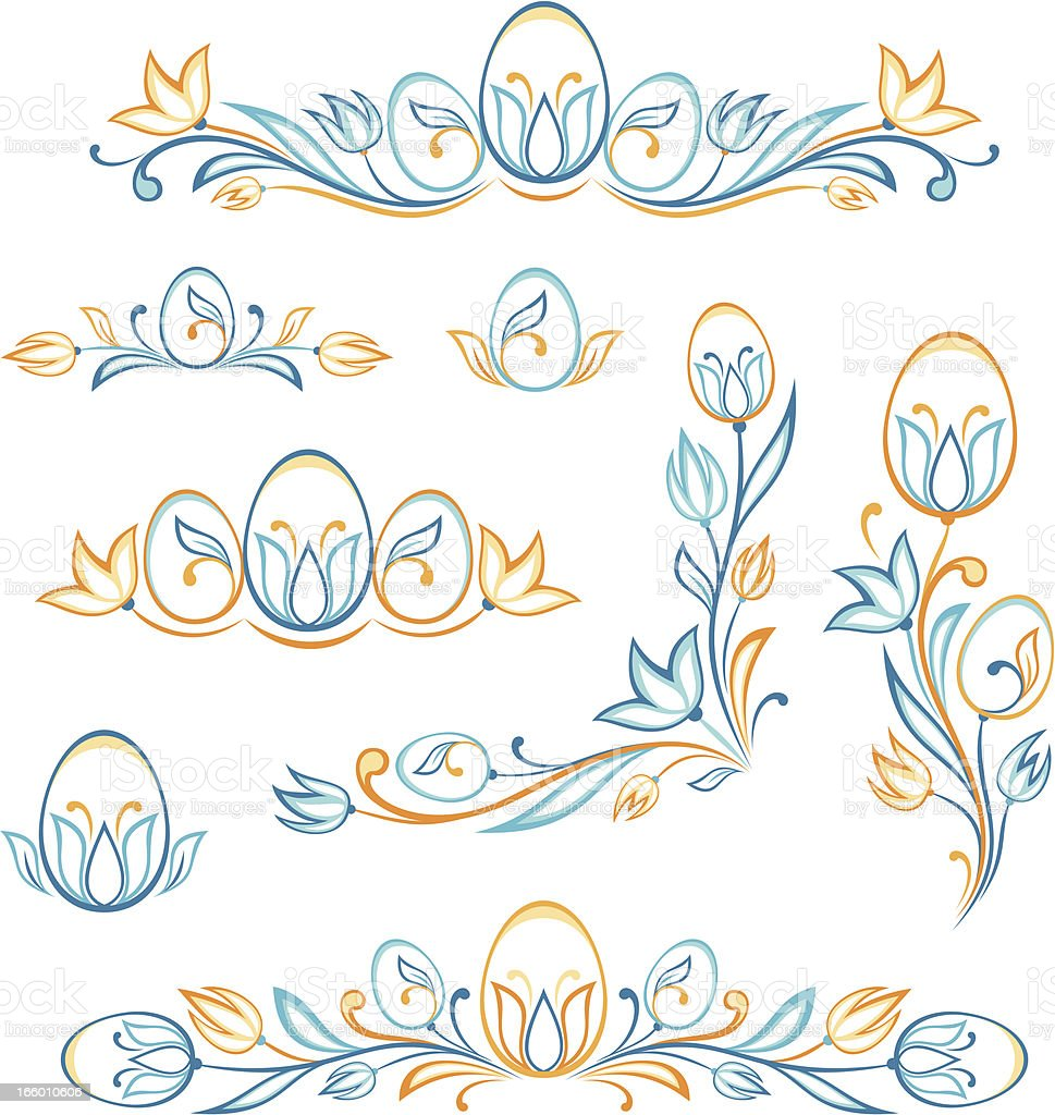 Set of easter decorative elements. royalty-free stock vector art