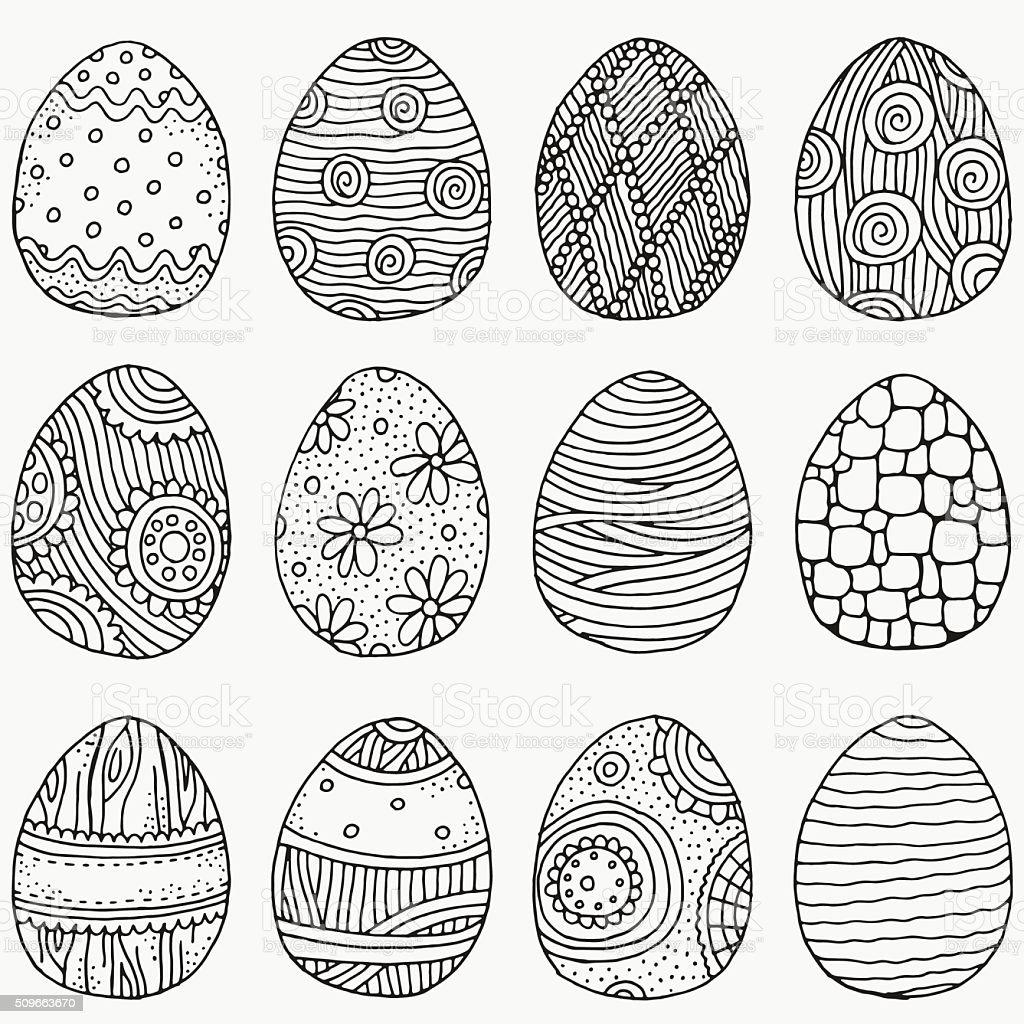 Set of Easter eggs. Hand-drawn vector art illustration