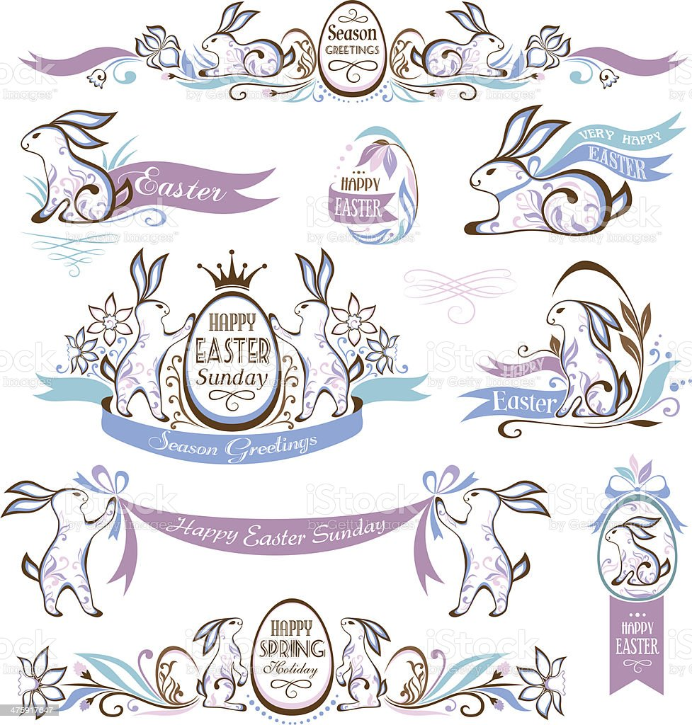 Set of easter elements with rabbits royalty-free stock vector art