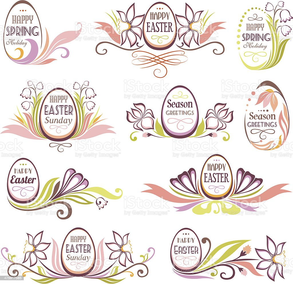 Set of easter floral emblems royalty-free stock vector art