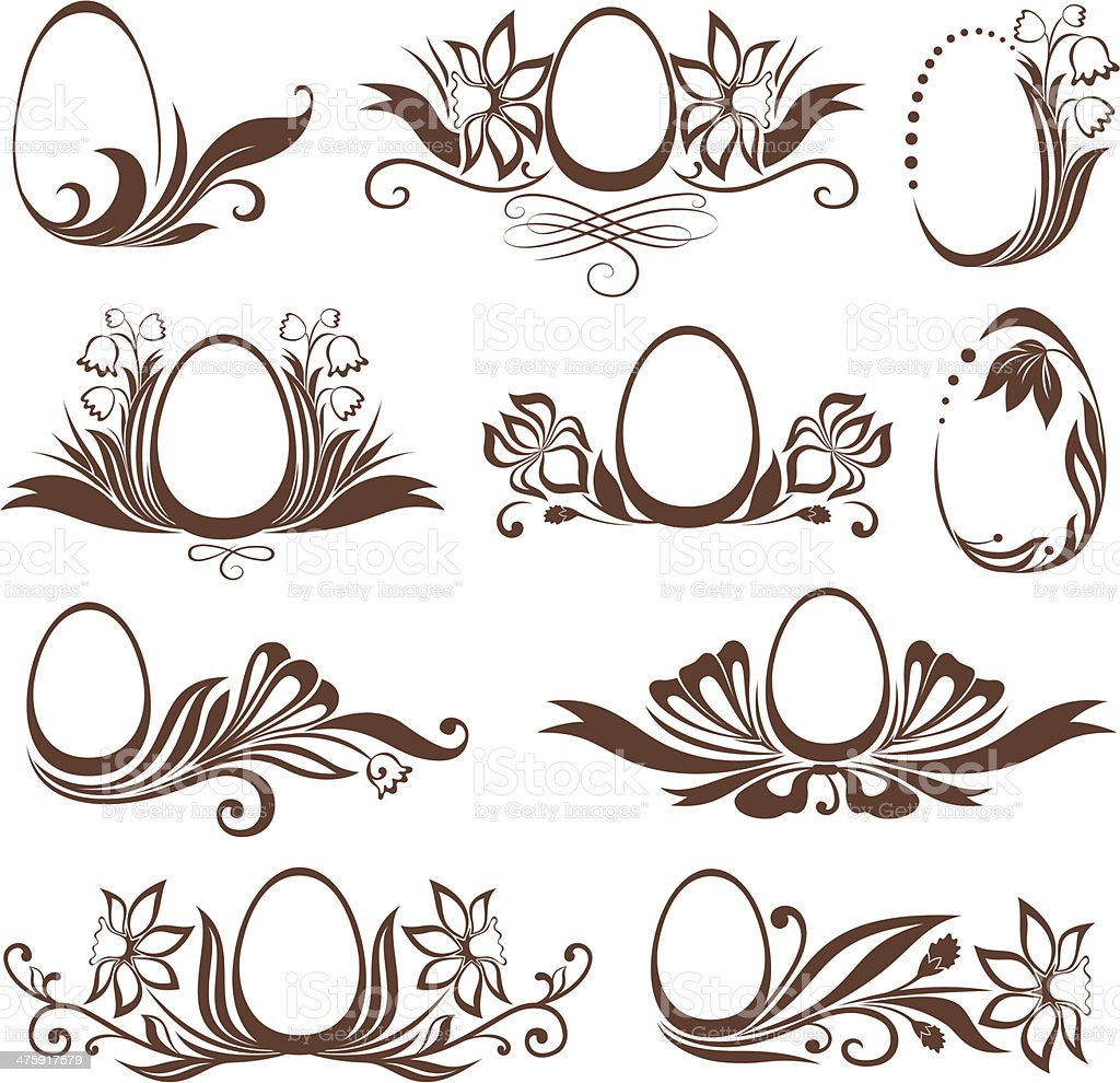 Set of easter floral frames royalty-free stock vector art