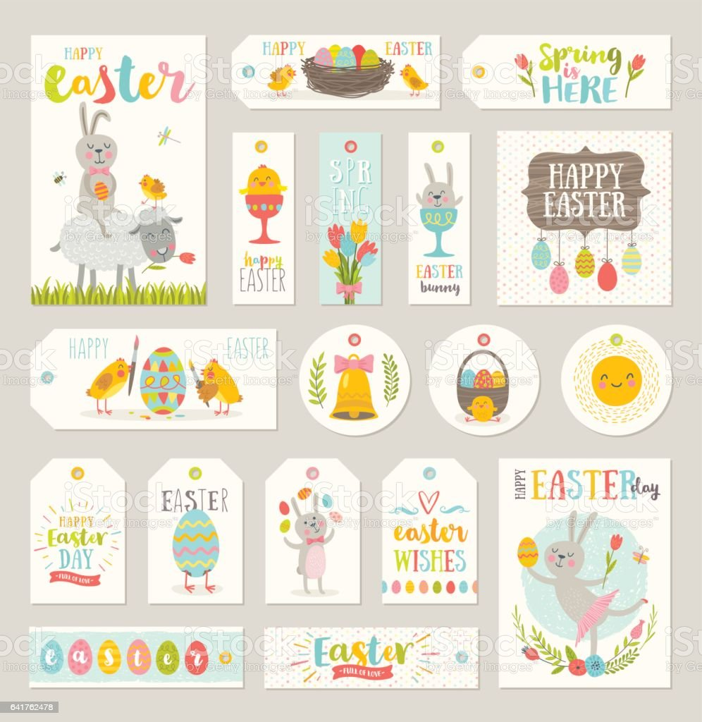 Set of Easter gift tags and labels vector art illustration