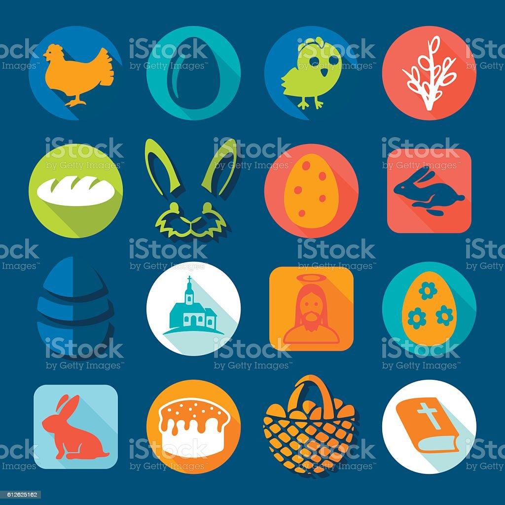 Set of easter icons vector art illustration