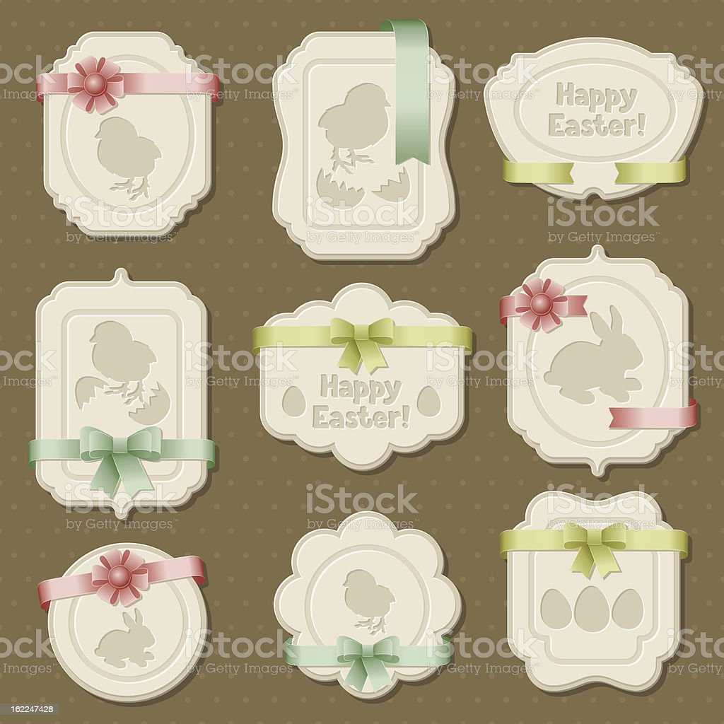 Set of Easter labels, tags with bows and ribbons. vector art illustration