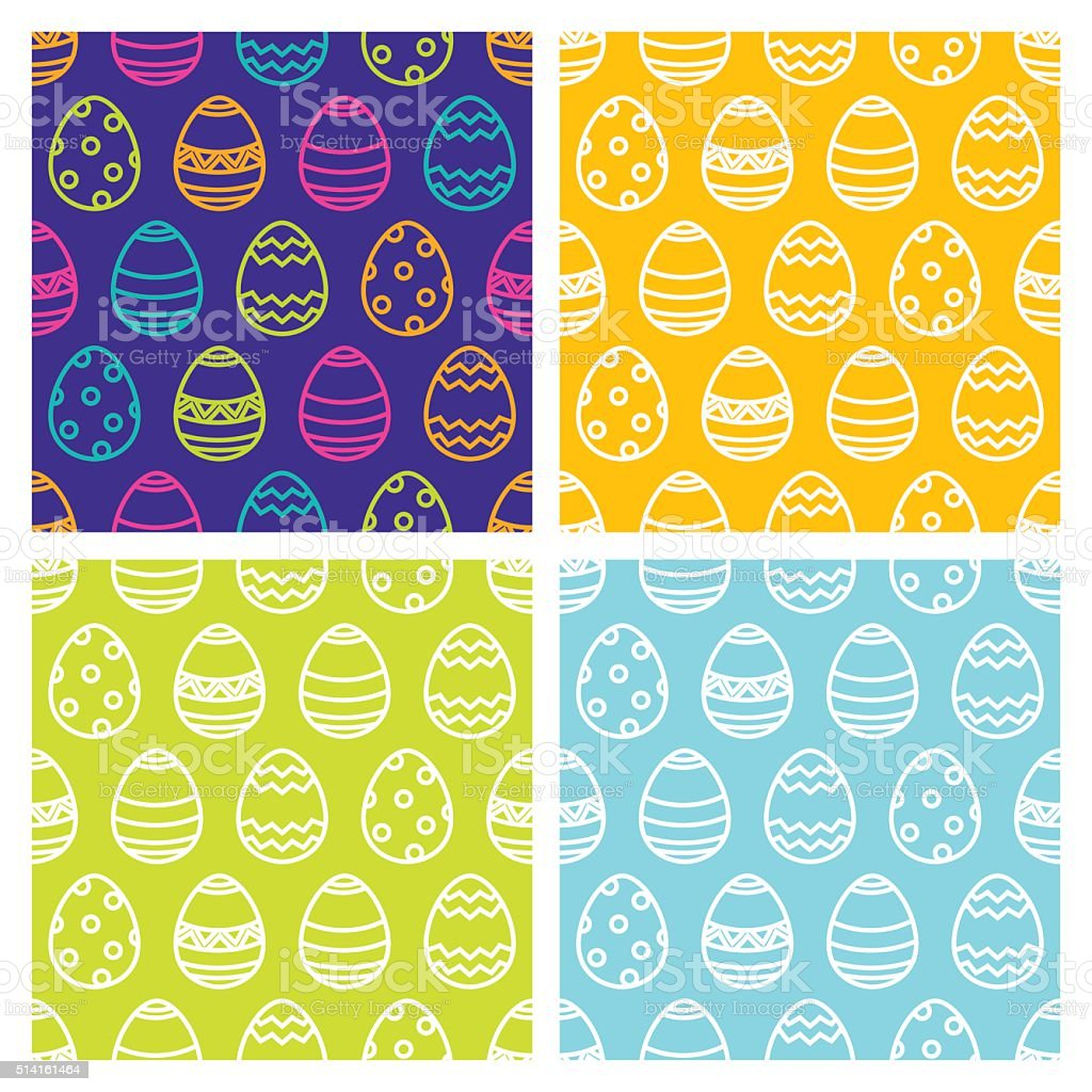 Set of Easter seamless pattern with linear multicolor eggs. vector art illustration