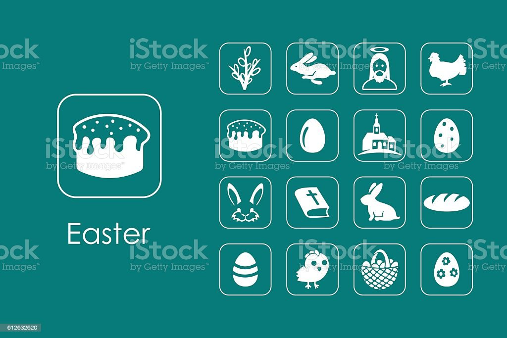 Set of Easter simple icons vector art illustration