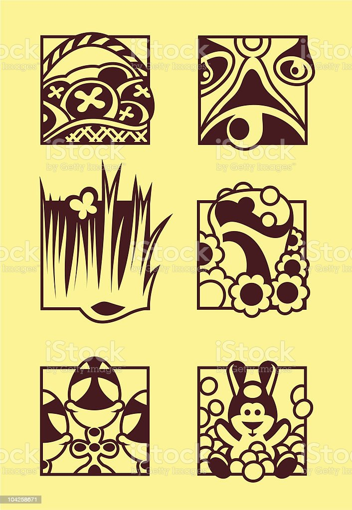 Set Of Easter Symbols vector art illustration
