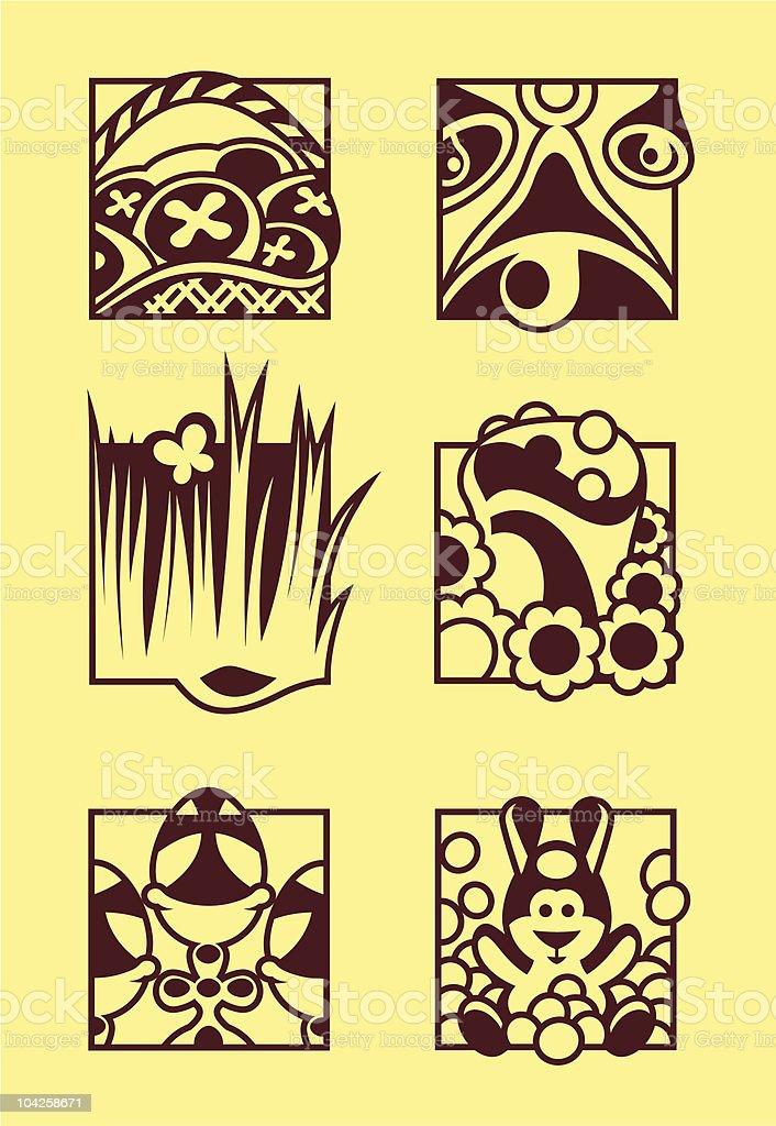 Set Of Easter Symbols vector art illustration