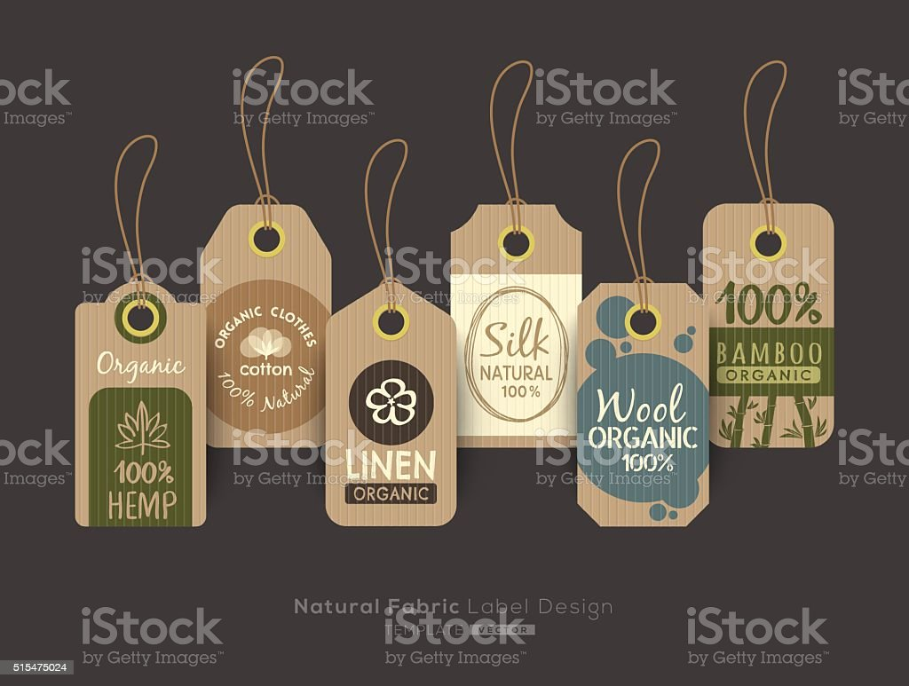 Set of eco friendly fabric cloth tag labels collection design vector art illustration