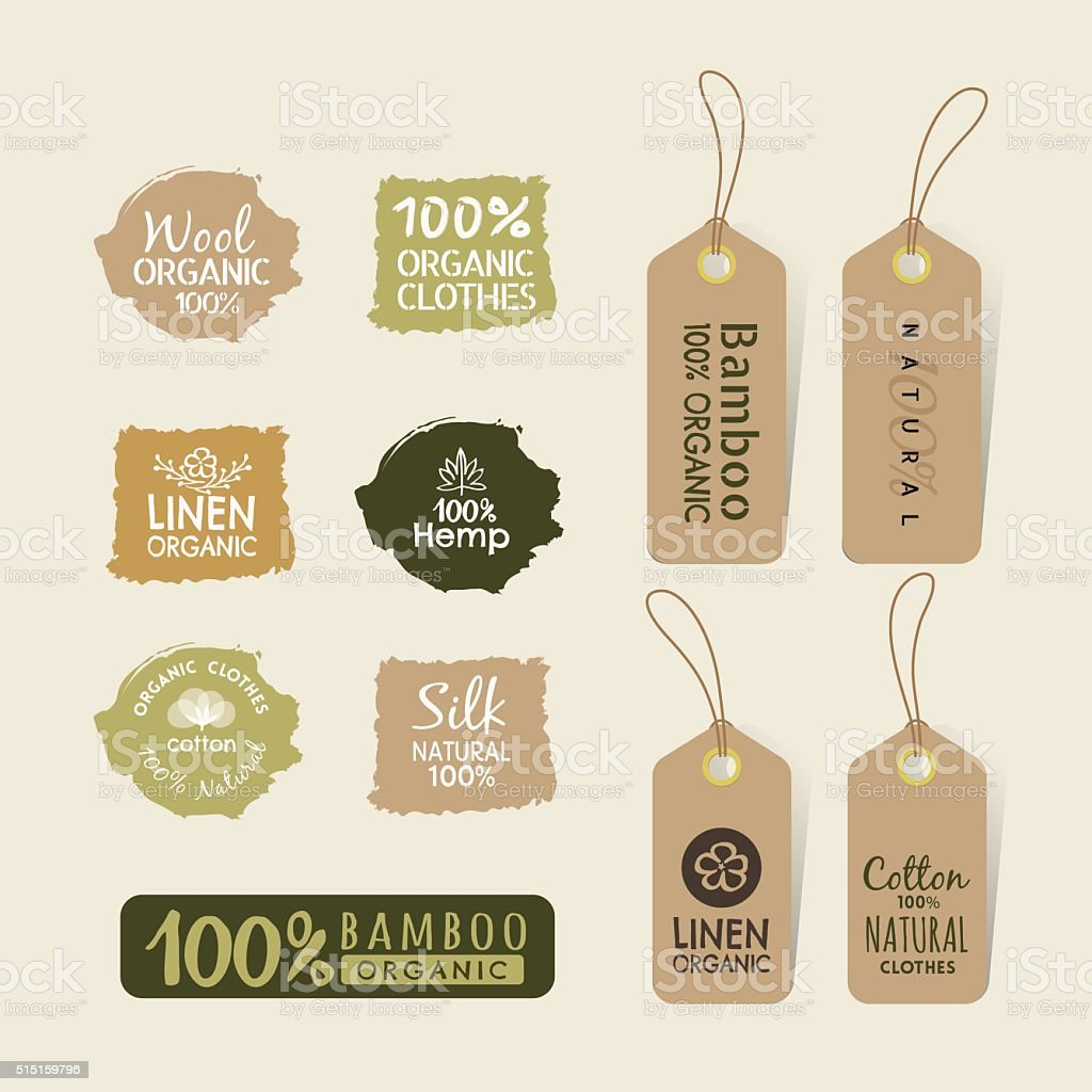 Set of eco friendly fabric tag labels collection design vector art illustration