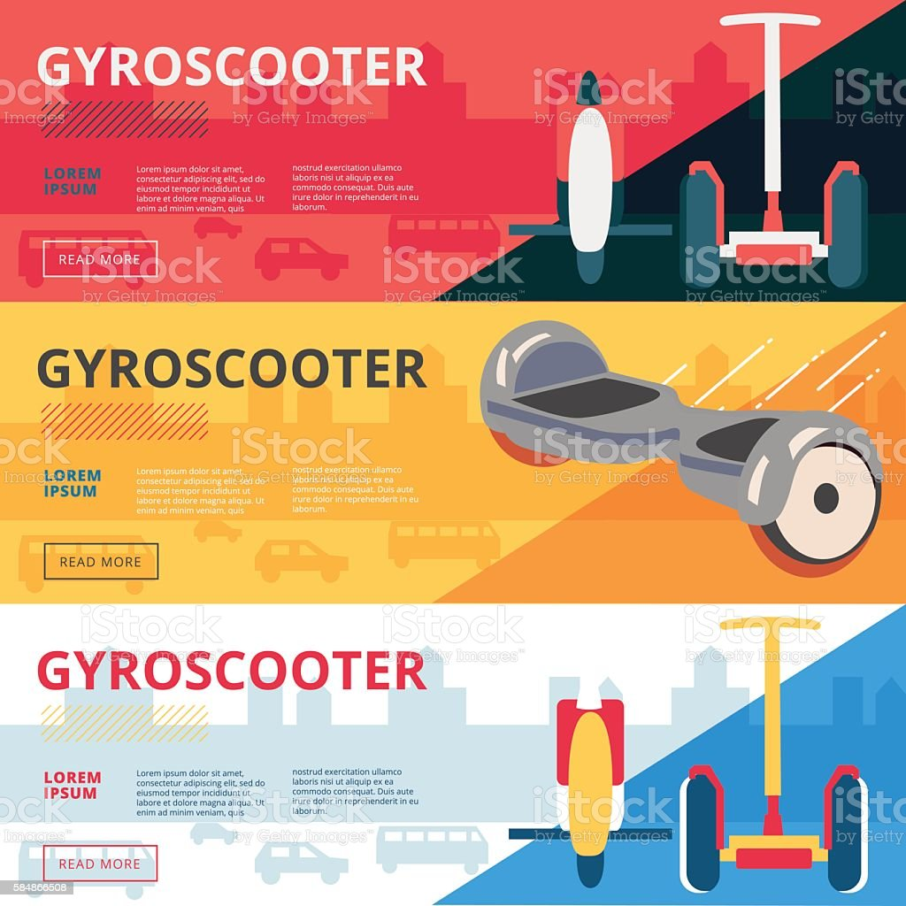 Set of eco gyroscooter advertiisment web banners design. Vector vector art illustration
