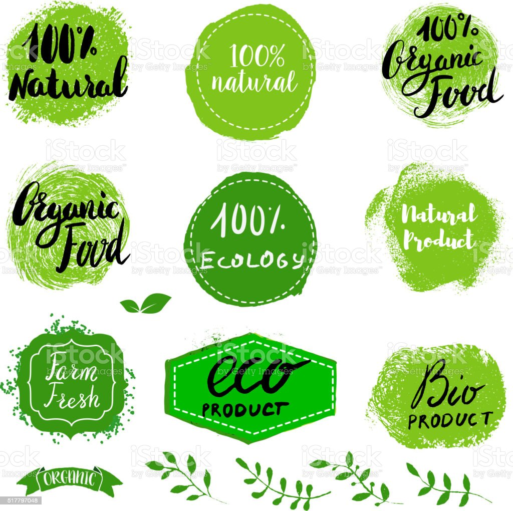 Set of Eco healthy Food labels. vector art illustration