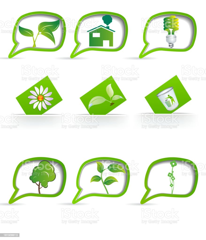 Set of eco-friendly items on the labels. royalty-free stock vector art
