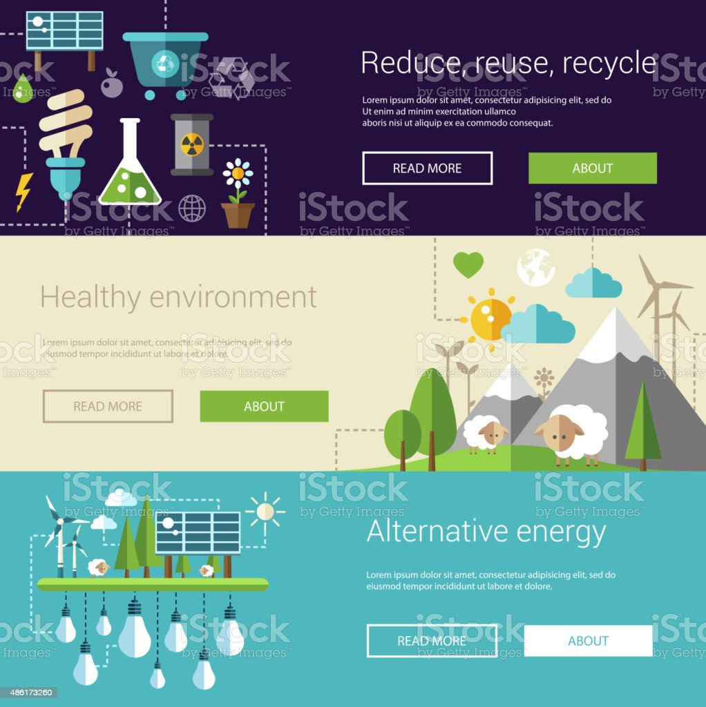 Set of ecological flat modern illustrations, banners, headers with icons vector art illustration