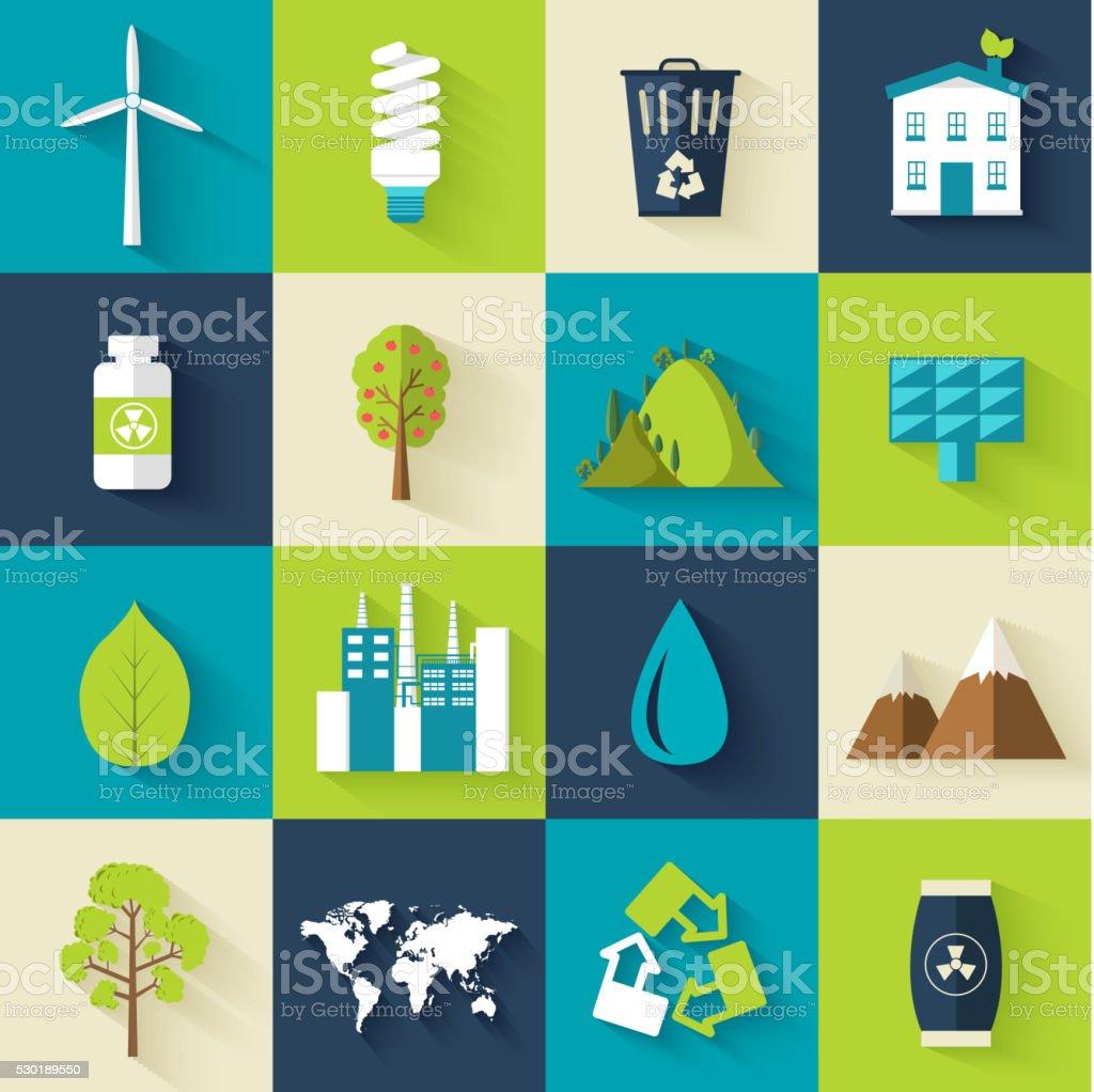 set of ecology flat icons illustration concept vector art illustration