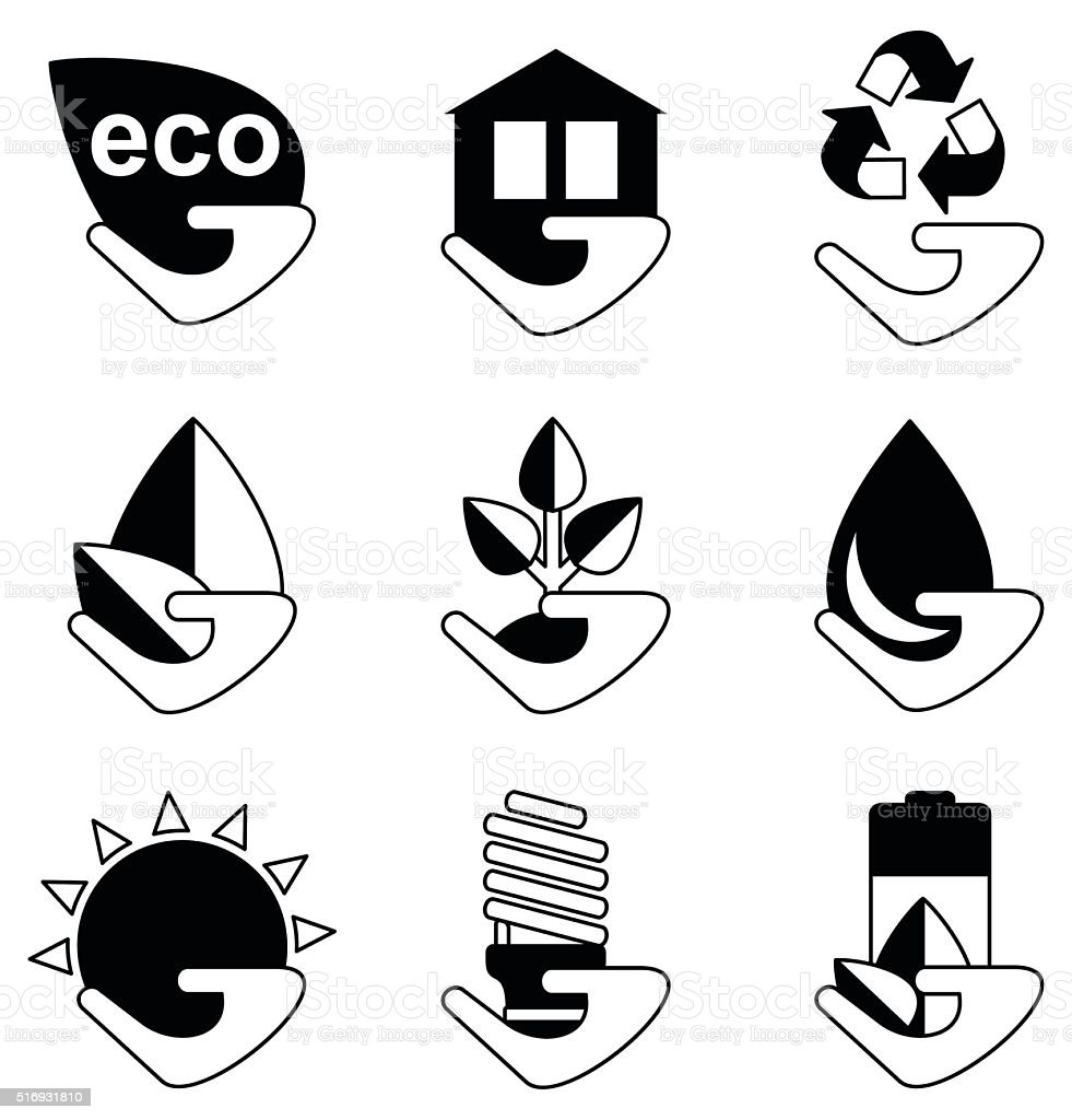 set of ecology icons vector art illustration