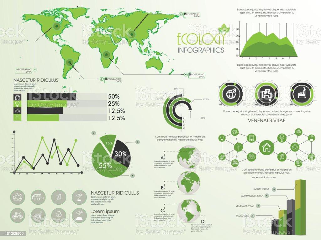 Set of ecology infographic elements. vector art illustration