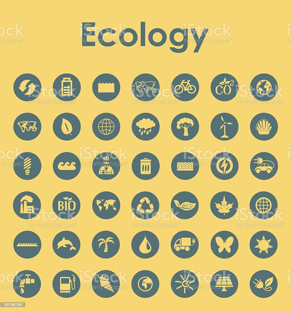 Set of ecology simple icons vector art illustration