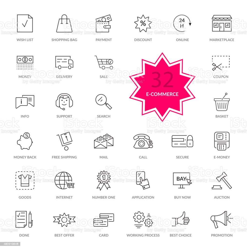 Set of E-commerce Thin, lines icons vector art illustration
