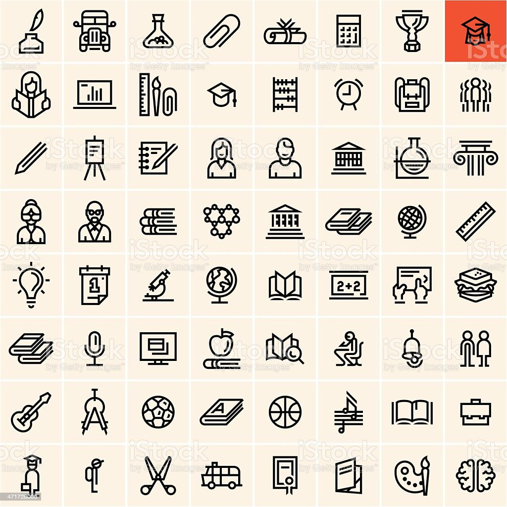 A set of education icons with a highlighted graduation icon vector art illustration