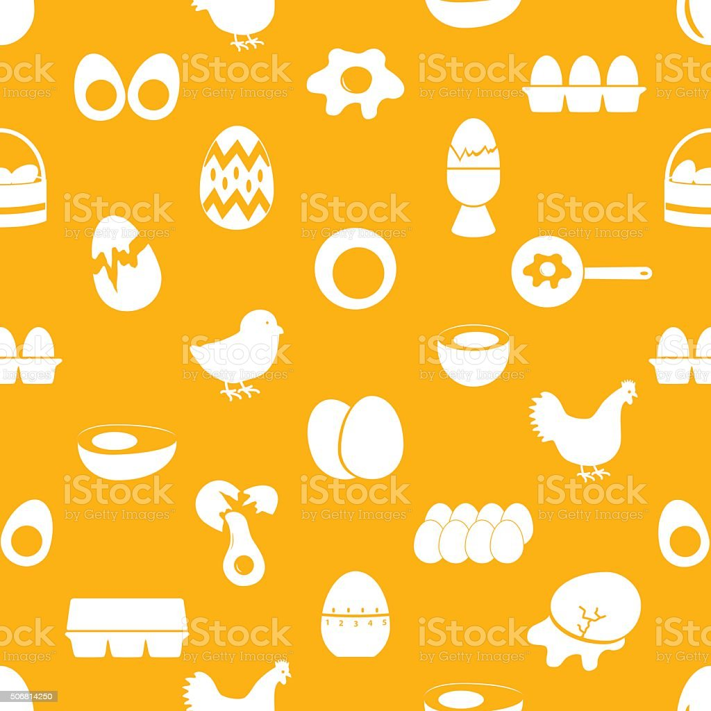 set of egg theme icons seamless pattern eps10 vector art illustration