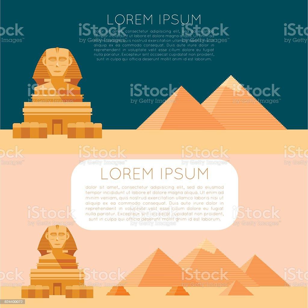 Set of Egypet banners vector art illustration