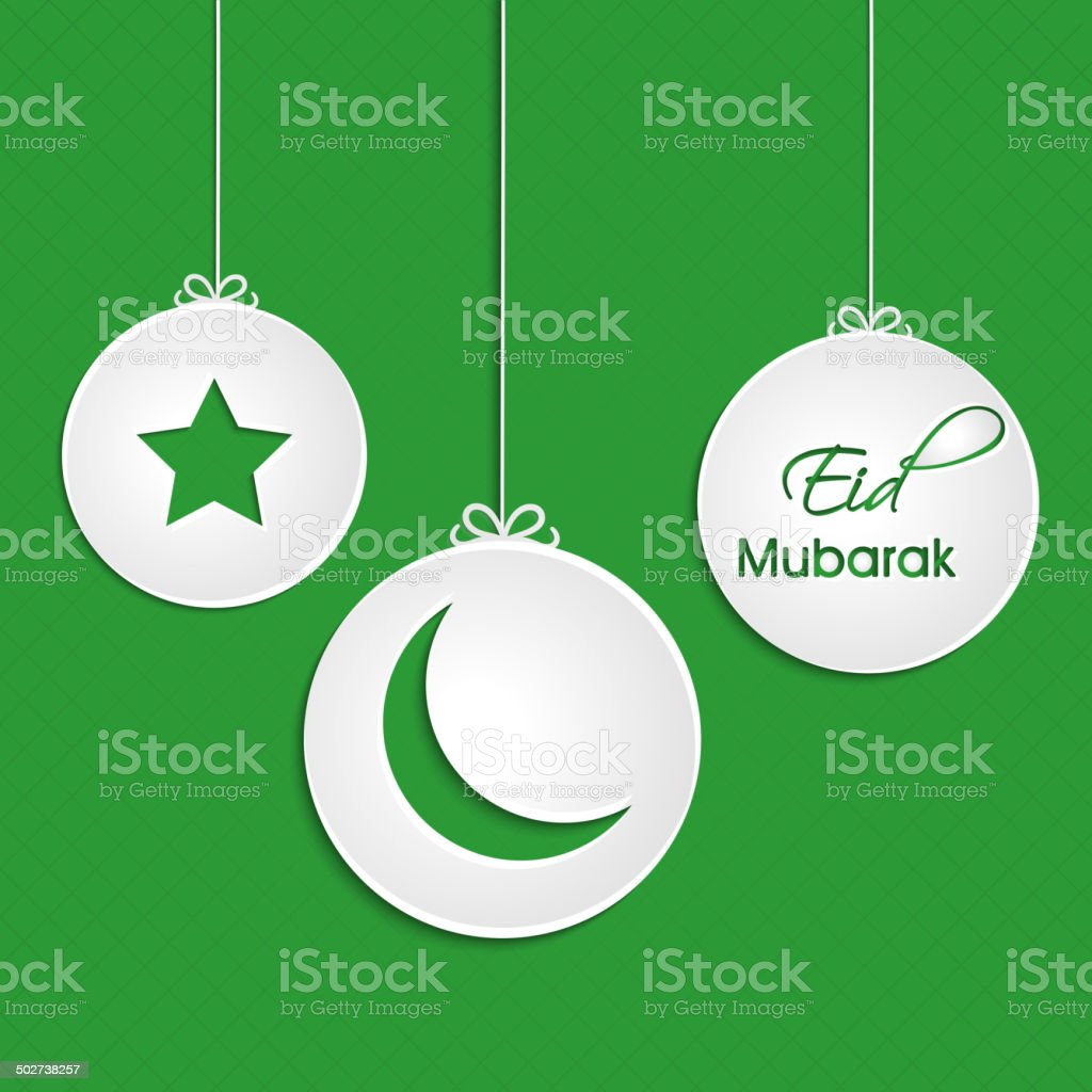 Set of Eid Mubarak hanging sticky designs. royalty-free stock vector art