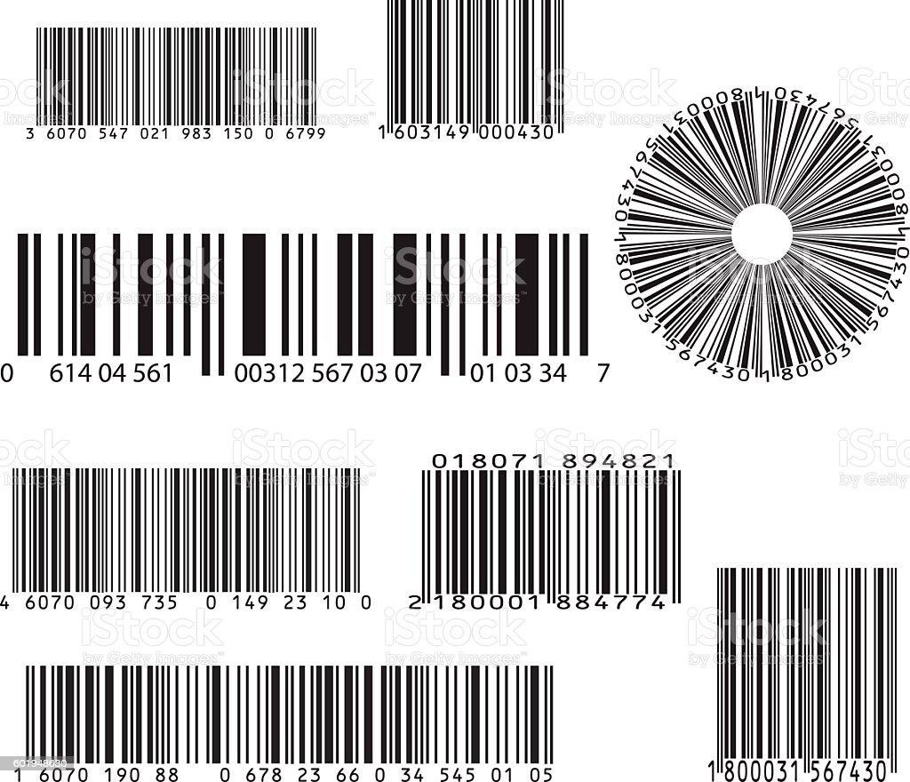 set of eight barcode vector art illustration