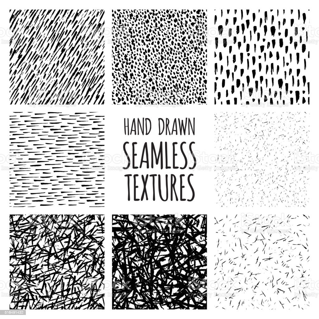 Set of eight black and white seamless hand drawn textures vector art illustration