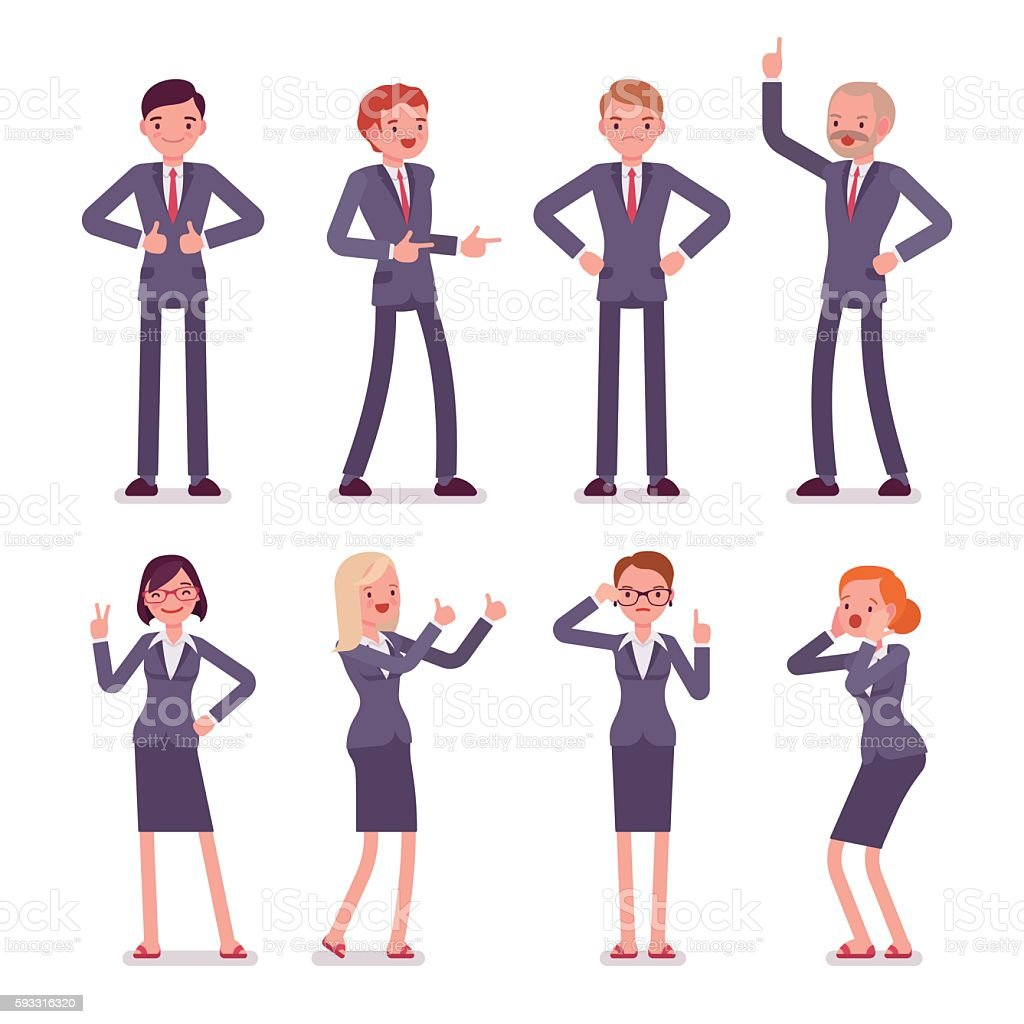 Set of eight business male and female characters vector art illustration