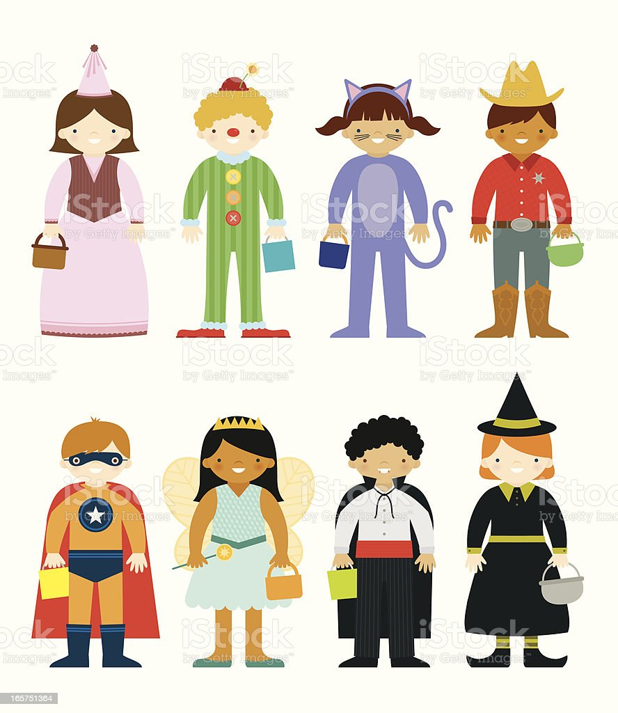 Set of eight cartoons in Halloween costumes royalty-free stock vector art