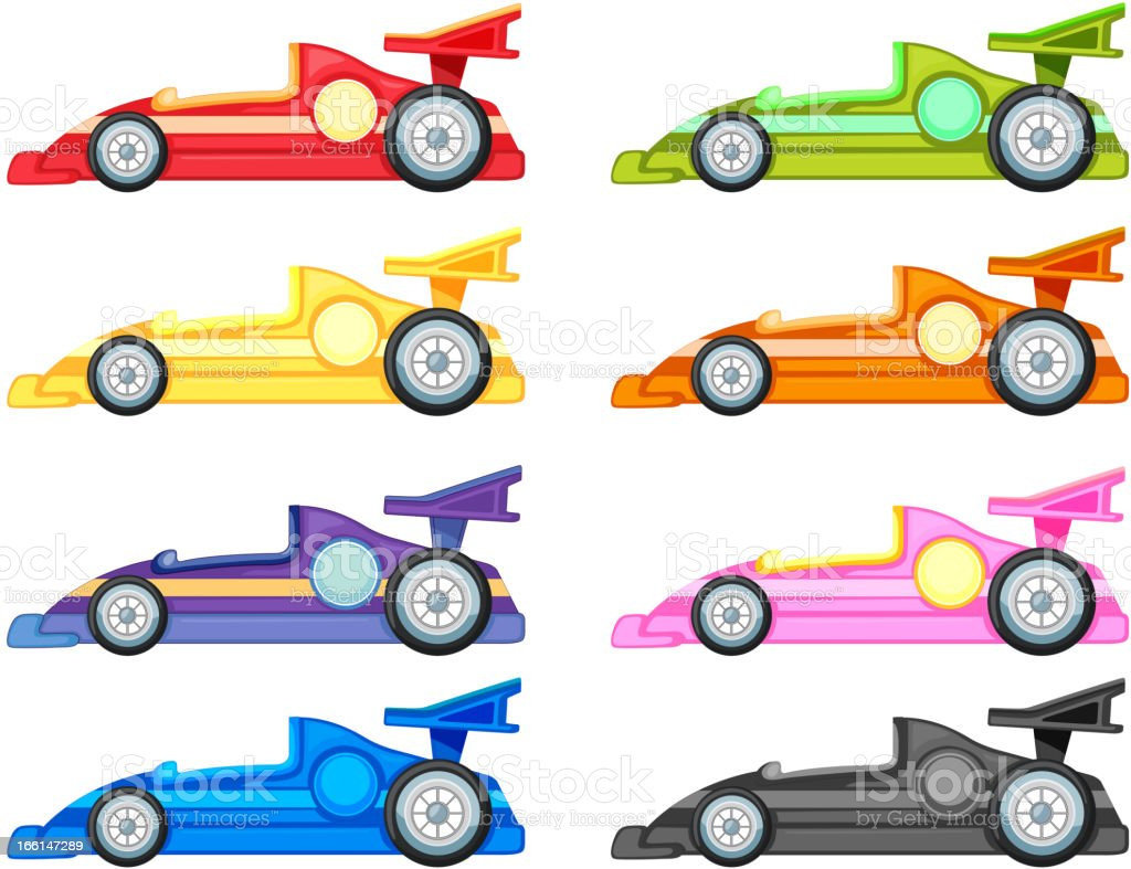 Set Of Eight Different Colored Cartoon Racing Cars Stock Vector