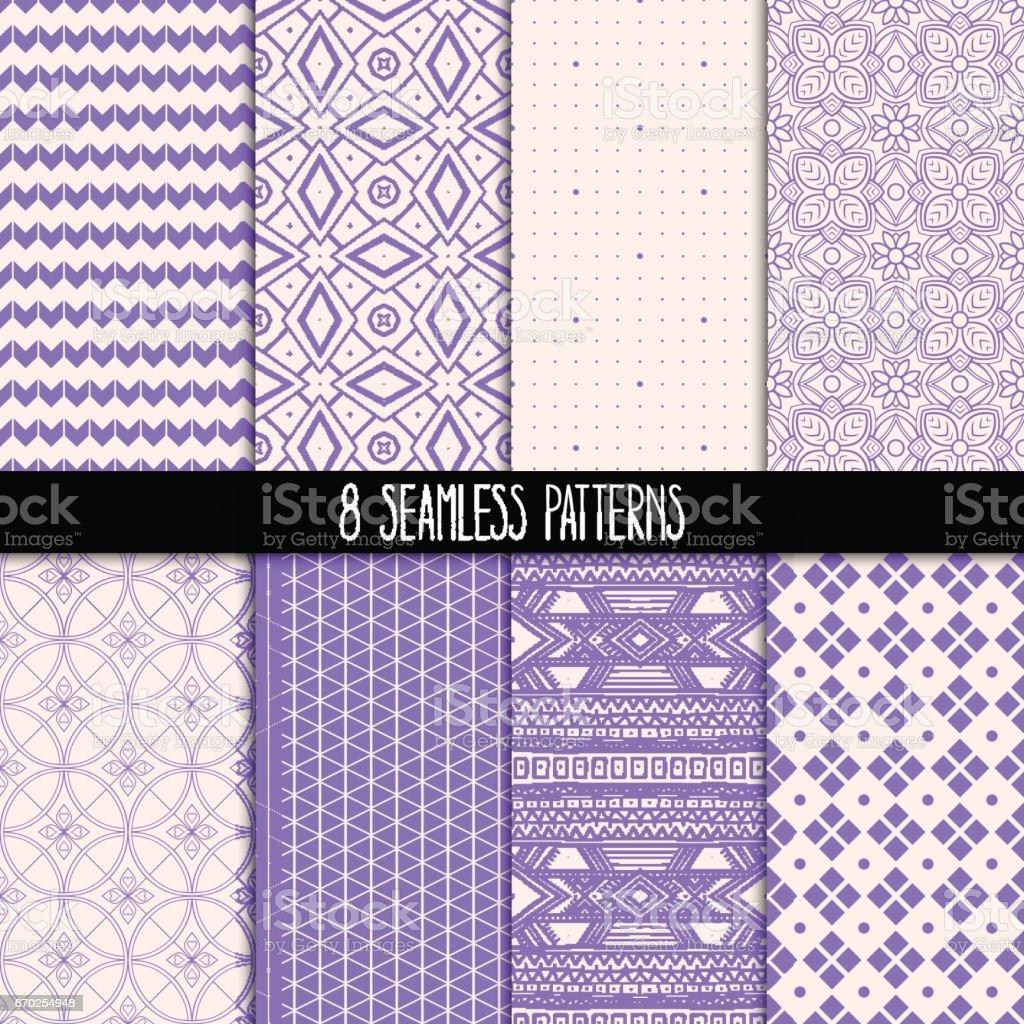 set of eight purple patterns vector art illustration
