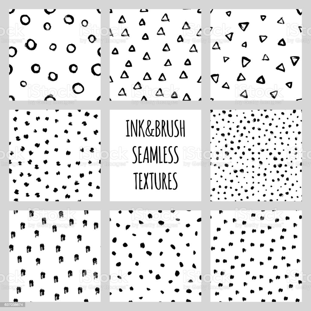 Set of eight seamless black and white vector free hand vector art illustration