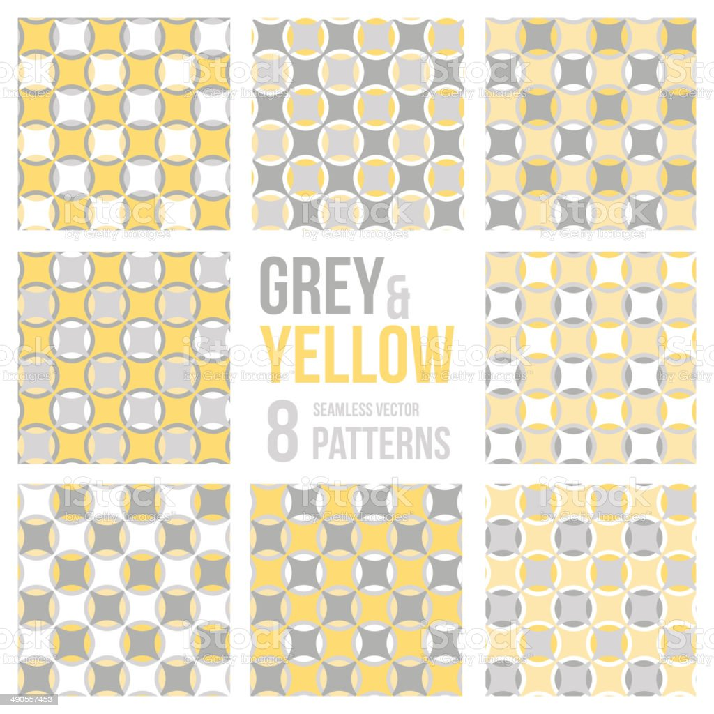 Set of eight seamless patterns vector art illustration