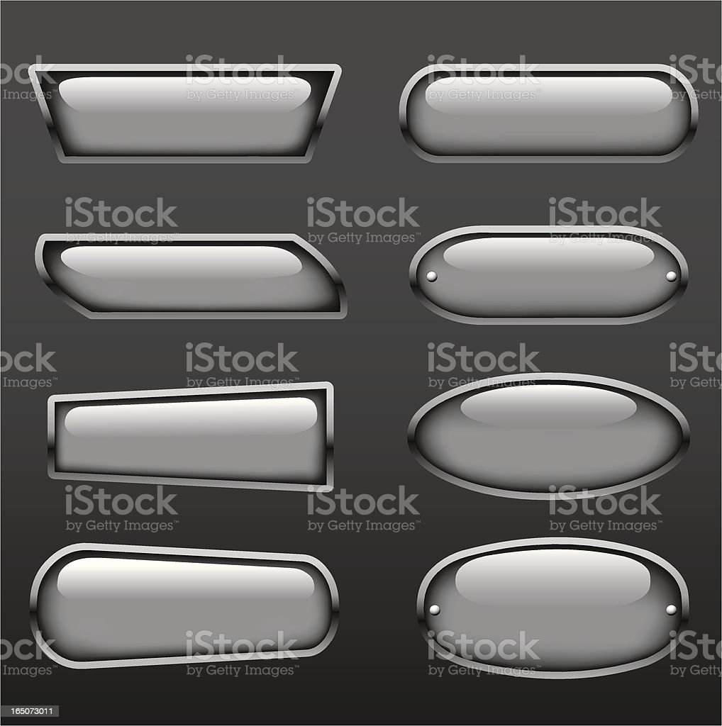 Set of eight shiny silver metal buttons on gray background vector art illustration