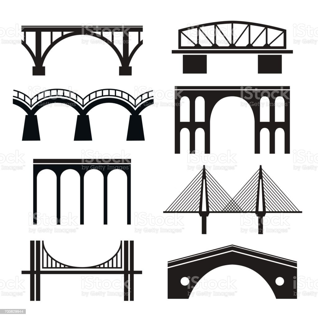 Set of eight stylized images of bridges. vector art illustration