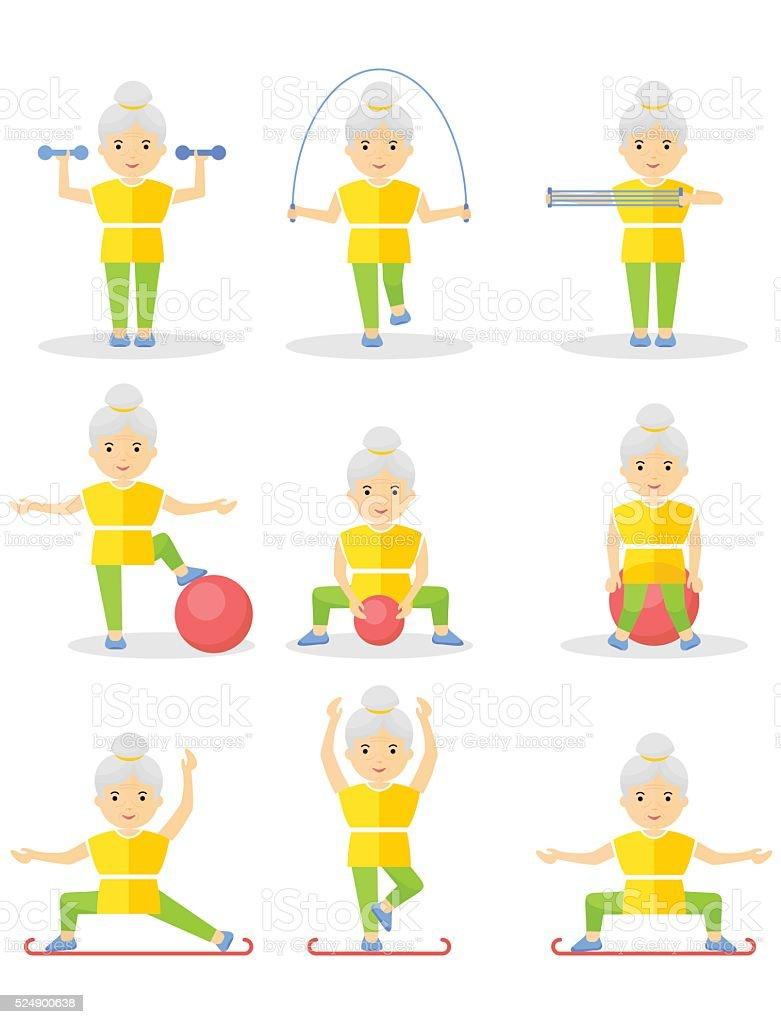 set of elder women sport exercise vector art illustration