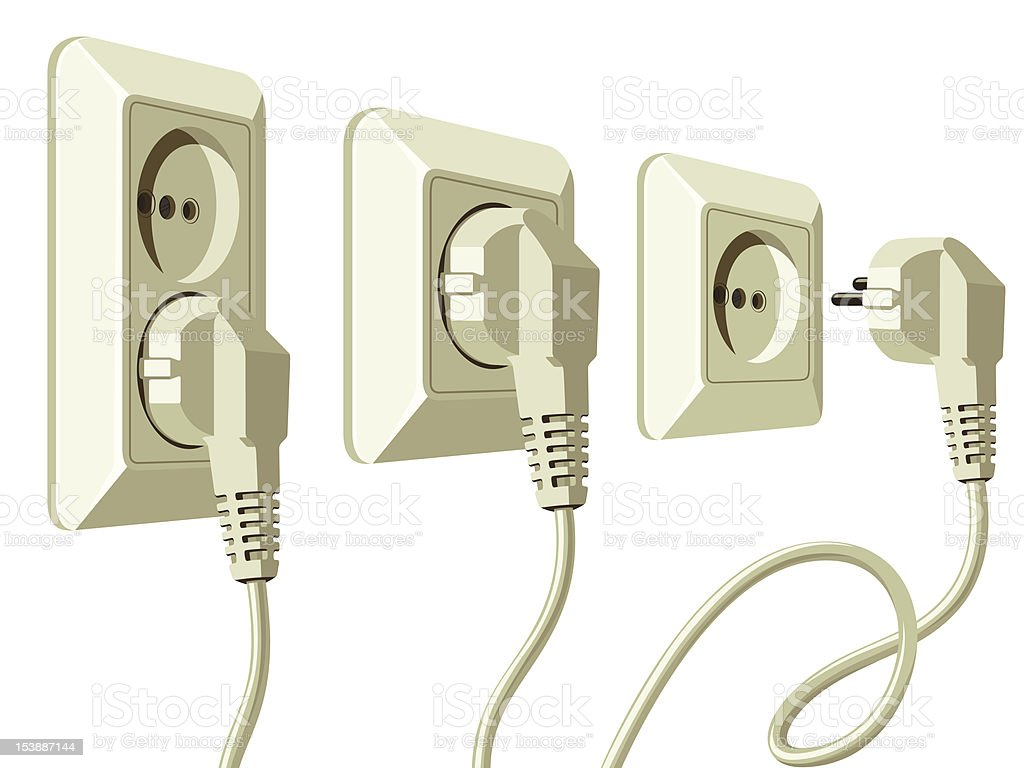 set of electric sockets and plugs royalty-free stock vector art