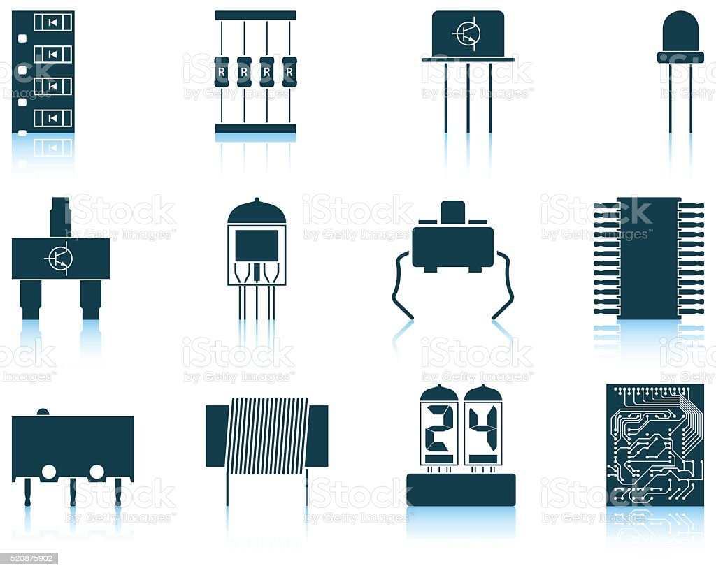 Set of electronic components icons vector art illustration