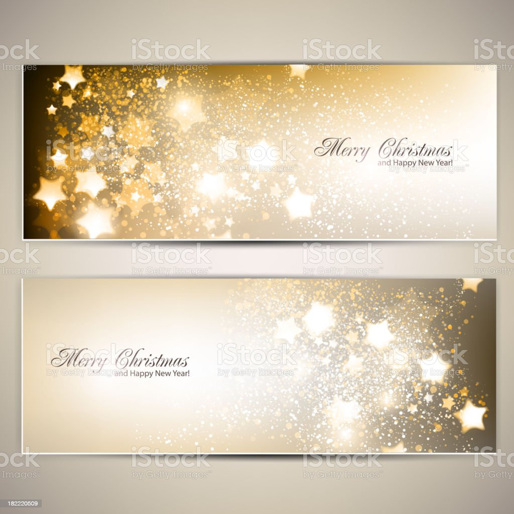Set of Elegant Christmas banners with stars. royalty-free stock vector art