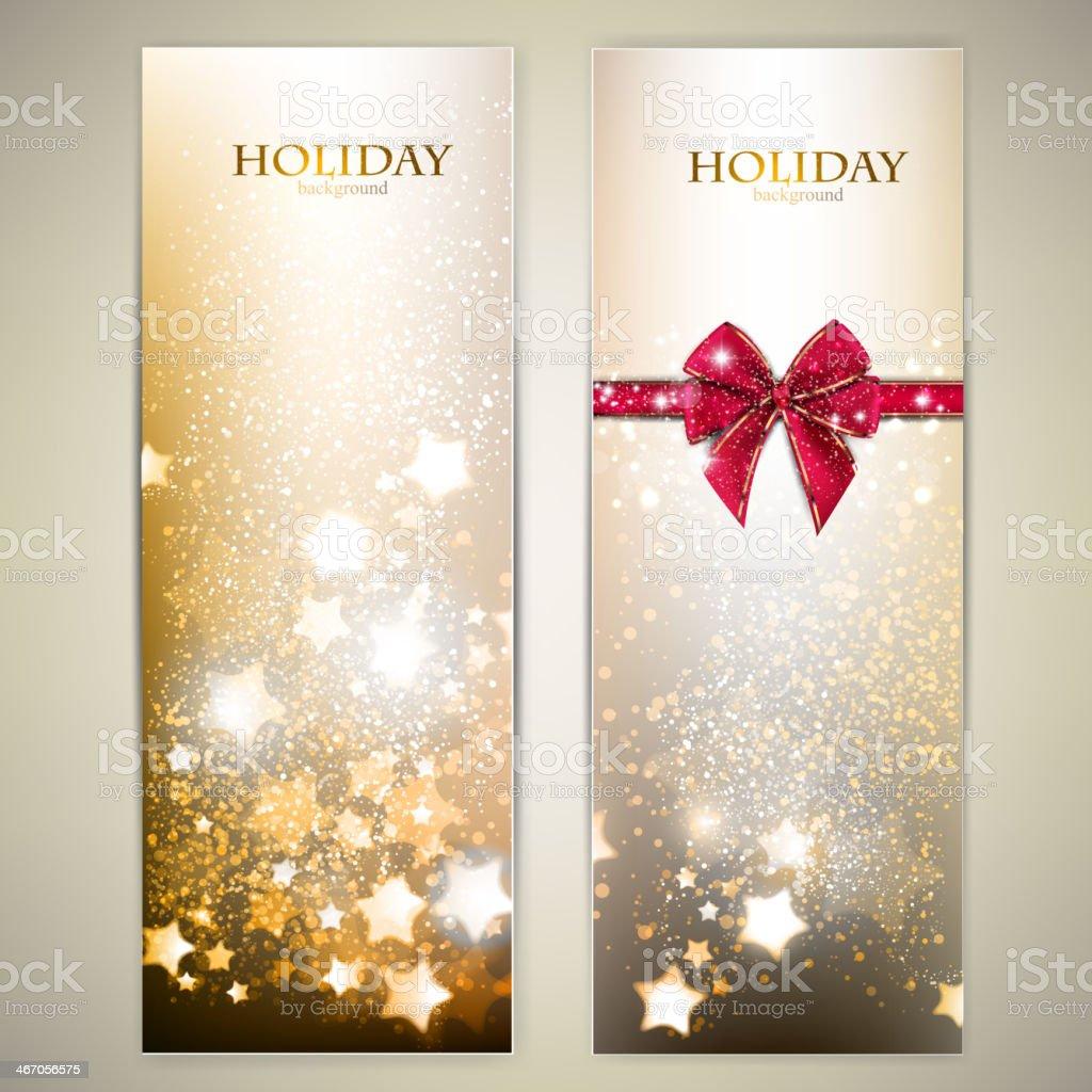 Set of Elegant Christmas banners with stars. vector art illustration