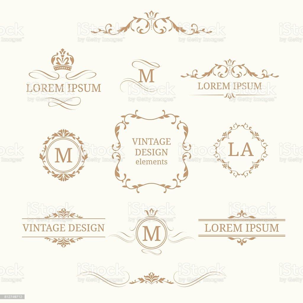 Set of elegant floral monograms and borders vector art illustration
