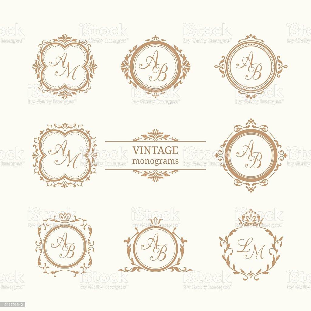 Set of elegant floral monograms vector art illustration