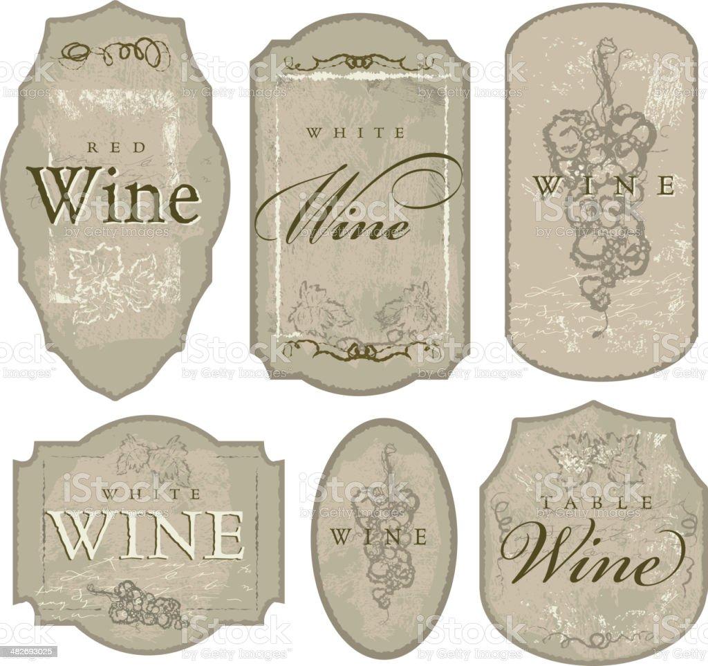 Set of elegant wine bottle labels sketchy grapes and leaves vector art illustration