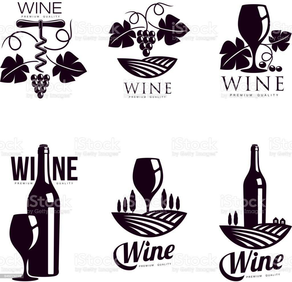 Set of elegant wine logo templates vector art illustration